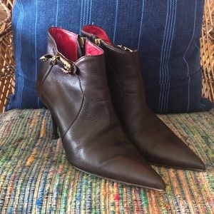 Cesare Paciotti Brown Leather Heeled Ankle Boots
